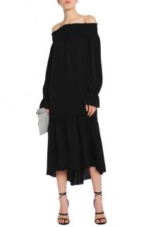 Theory Belinsie off-the-shoulder smocked silk-jersey midi dress