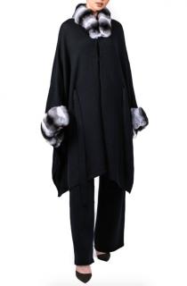 FurbySD Chinchilla Fur Trim Cashmere Cape