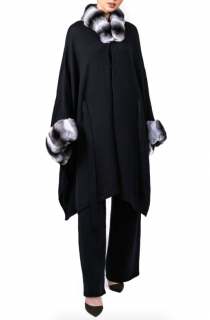 FurbySD Chinchilla Fur Trim Cashmere Cape