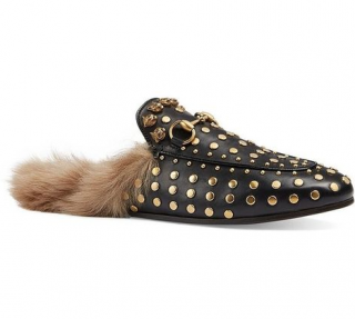 Gucci Princetown Studded Leather & Fur Slides