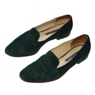 Ralph Lauren Collection green suede loafers