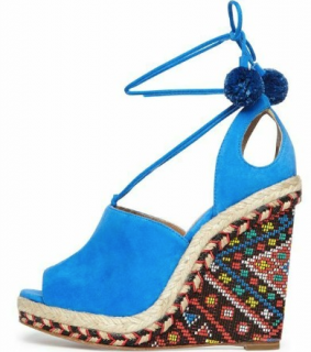 Aquazzura Blue Suede Palm Springs Wedge Sandals