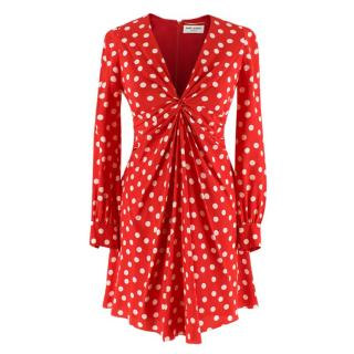 Saint Laurent Red Polka-dot Print Dress