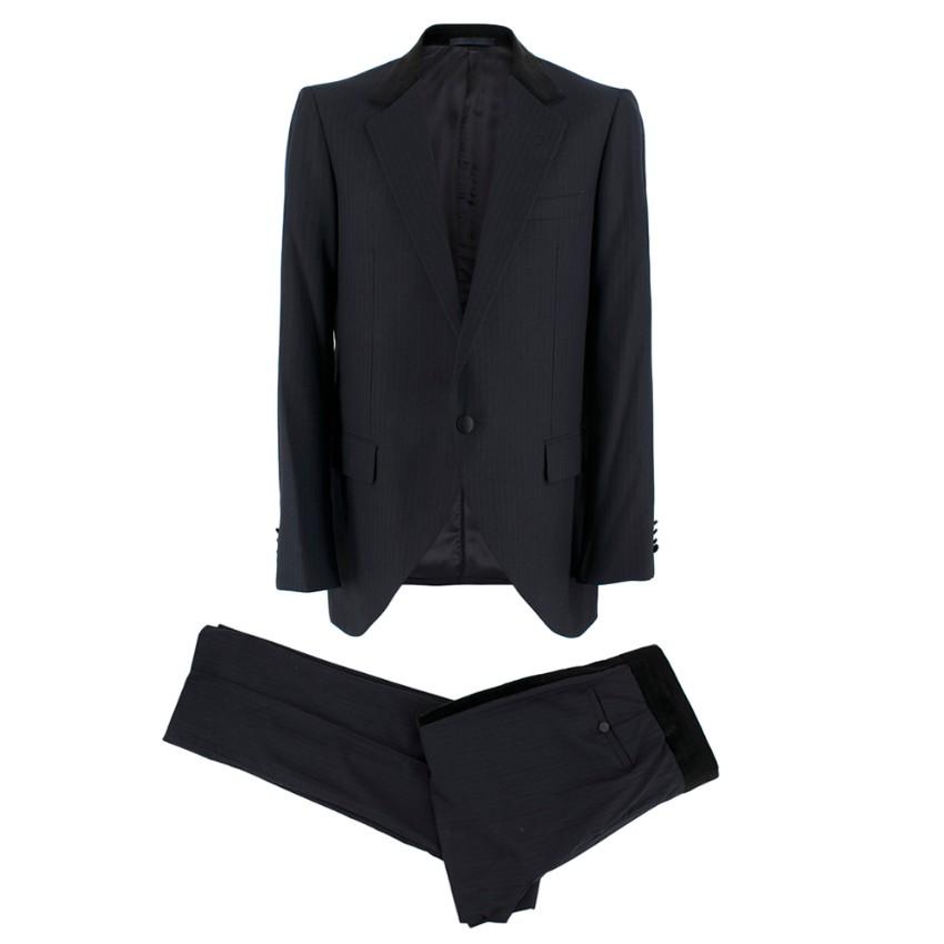 Lanvin Dark Navy Wool Pinstripe Two Piece Suit
