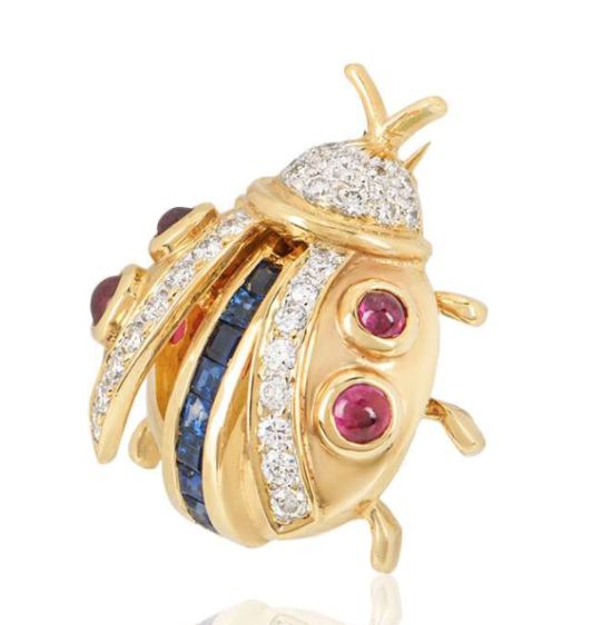 Bespoke Yellow Gold Diamond, Sapphire and Ruby Ladybird Brooch