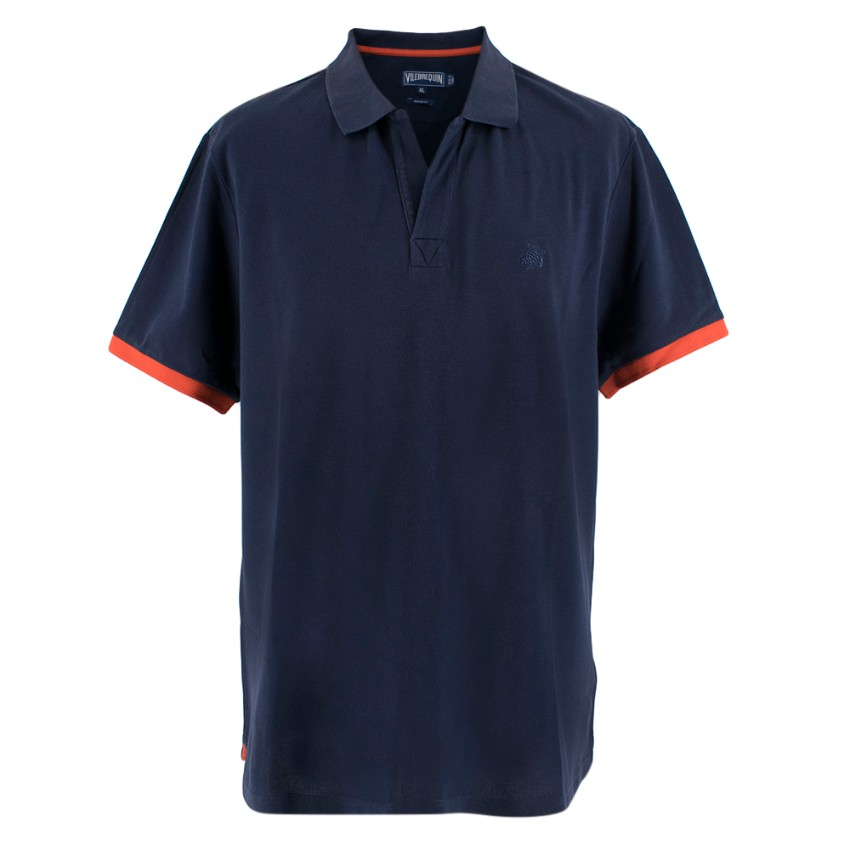 Vilebrequin Navy Polo Shirt with Red Cuffs