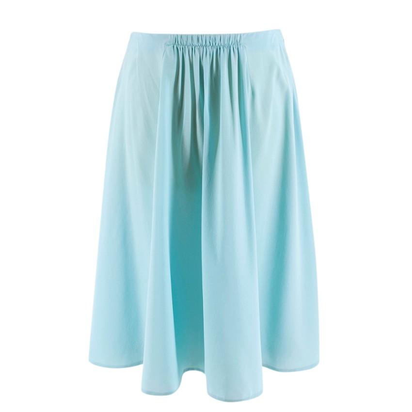 Prada Pleated Turquoise Silk Skirt