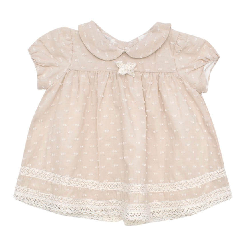 Bespoke Oatmeal Baby's Short Sleeve Summer Dress