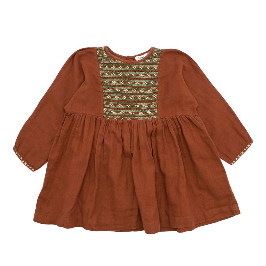 Caramel Kids Brown & Green Embroidered Dress