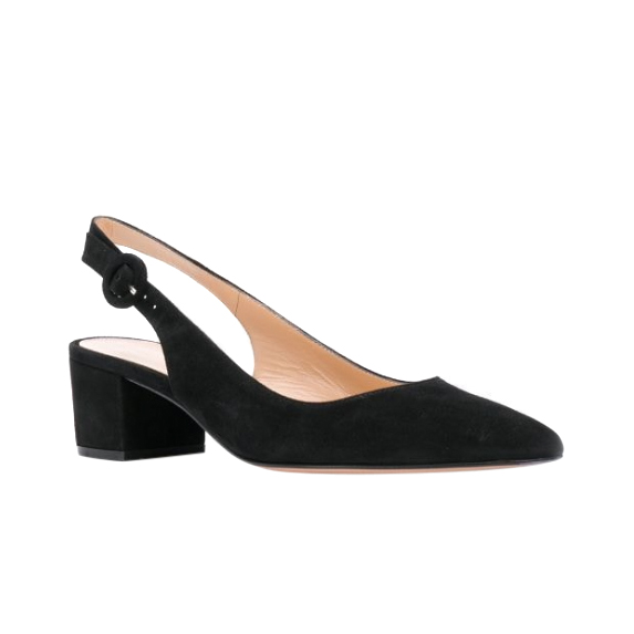 Gianvito Rossi black suede Amee sling back sandals