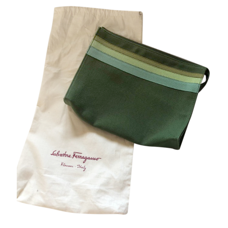 Ferragamo  Green Canvas Wash Bag