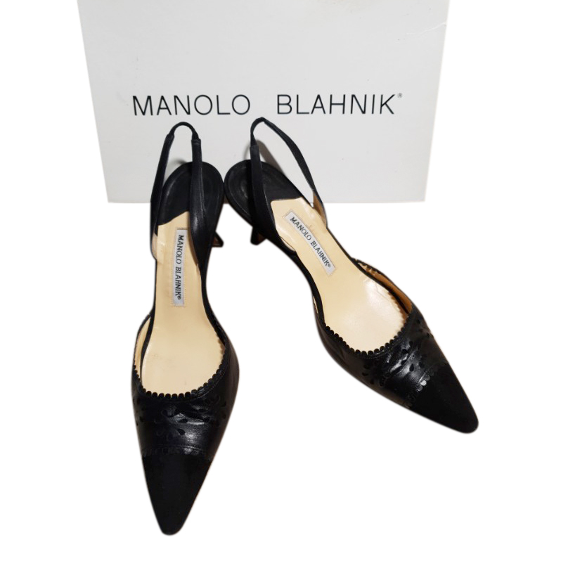 Manolo Blahnik black suede and leather slingback sandals