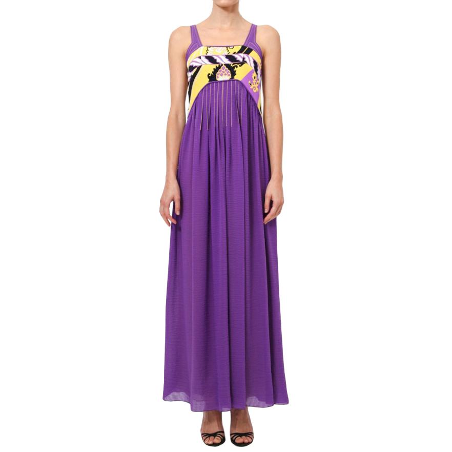 Leonard Purple Empire Line Maxi Dress