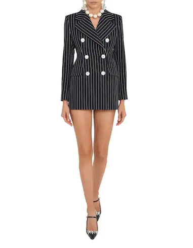 Alessandra Rich Pinstriped Cool Wool Double Breasted Blazer Dress