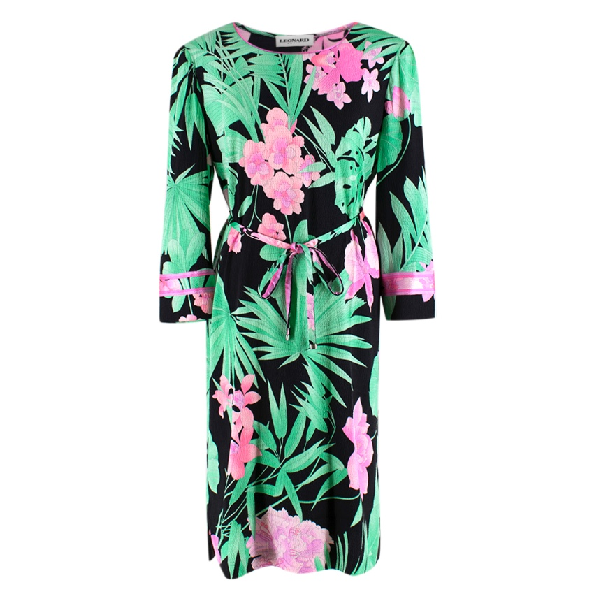 Leonard Paris Floral Textured Knee Length Dress