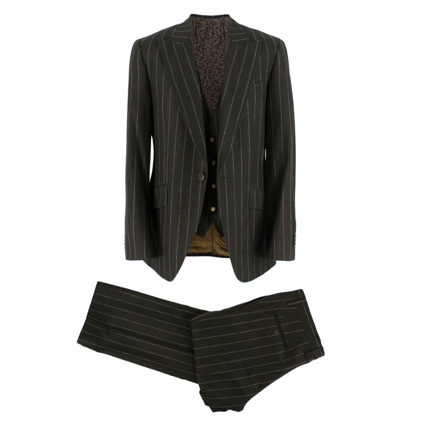 Dolce & Gabbana Brown Wool Pinstripe 3 Piece Suit