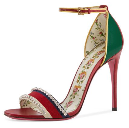 Gucci Crystal Isle Ankle Strap Sandals