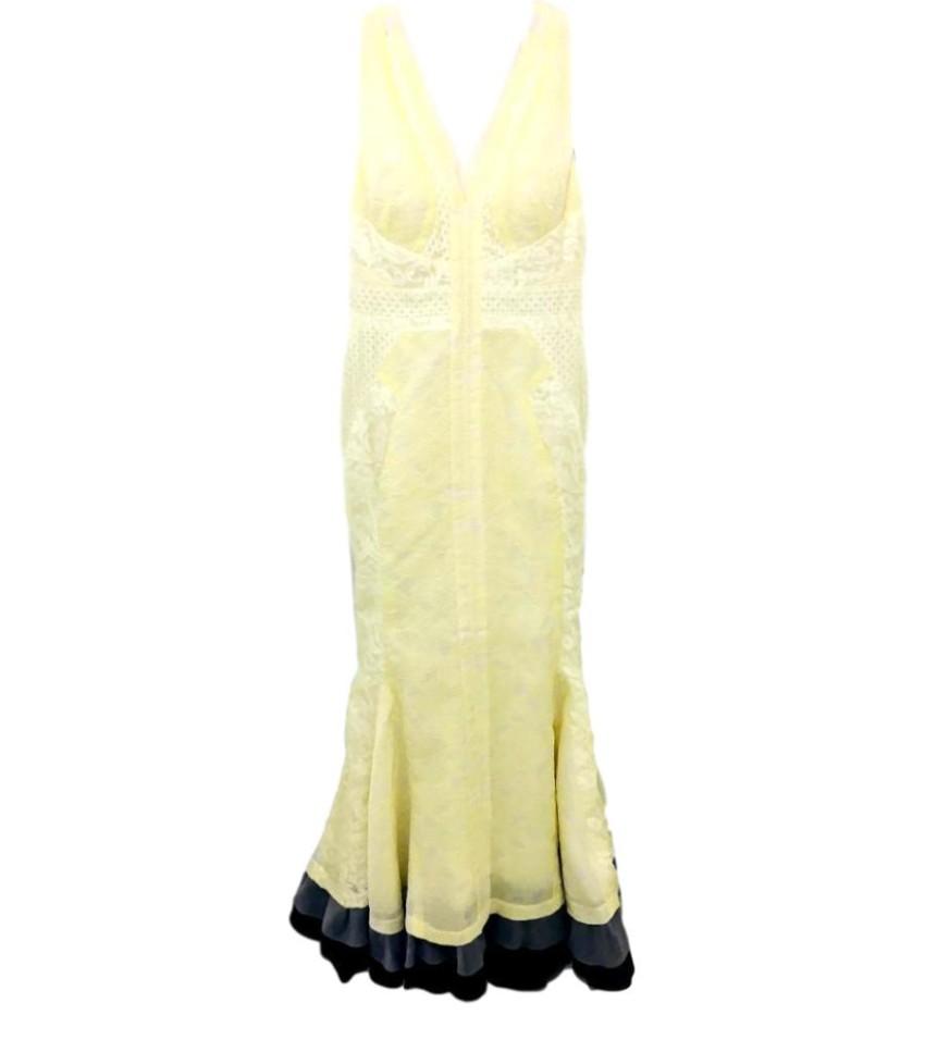 J. Mendel Lemon Yellow Lace Detailed Silk Fishtail Gown