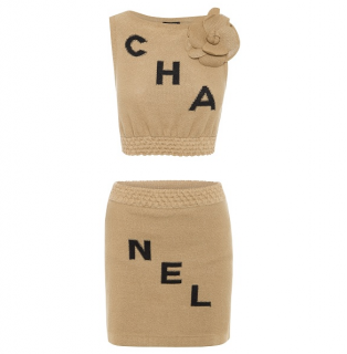 Chanel Camellia Beige & Black Two Piece Skirt & Top