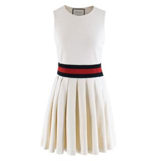 Gucci Ivory Pleated Gabardine Mini Dress