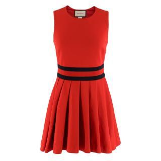 Gucci Red Pleated Gabardine Mini Dress