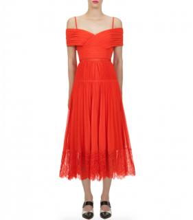 Self-Portrait Orange Off Shoulder Midi Dress