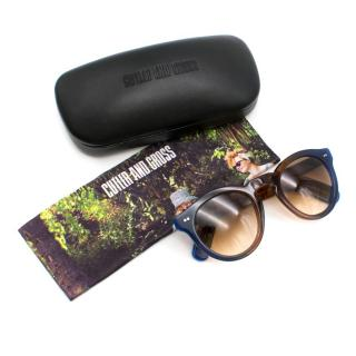 Cutler and Gross 0734 Round Blue and Brown Sunglasses