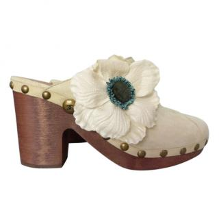 CHANEL Ivory Suede Camellia Clogs