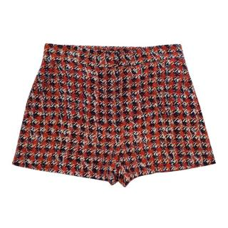 Louis Vuitton High Waist Silk Houndstooth Print Shorts