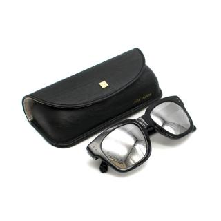 Linda Farrow Black Sunglasses with Silver Reflective Lens