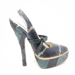 Prada Snakeskin Blue Sandals