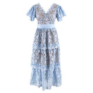 Self Portrait Light Blue Lily Guipure Midi Dress