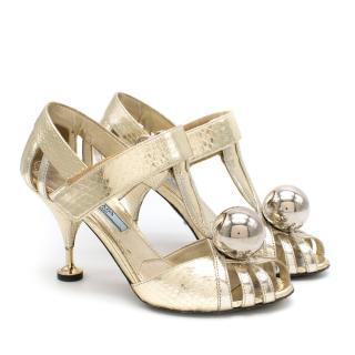 Prada Gold Snake Print Kitten Heel Sandals