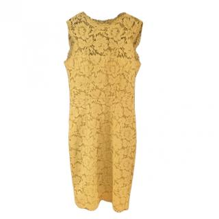 Valentino Yellow Lace Sleeveless Fitted Dress