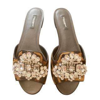 Dolce & Gabbana Pony Hair Swarovski Sandals