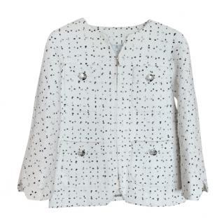 Chanel White & Black Tweed Boxy Jacket