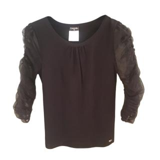 Chanel Black Fine Knit Top with Sheer Sleeves