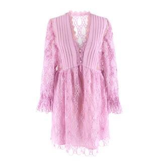 Self Portrait Pink Lilac Tear Drop Ruffle Mini Dress