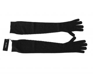 Dolce & Gabbana Black Knit Cashmere Gloves
