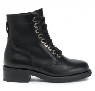 Sandro Black Leather Biker Boots