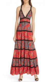 Alice + Olivia Karolina Mixed Print Maxi Dress