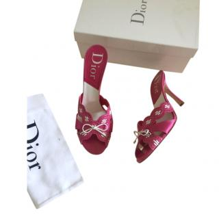 Dior Pink & White Leather Vintage Mules