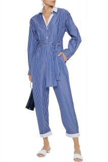 Sandro Evora Cropped Tie-front Striped Cotton Jumpsuit