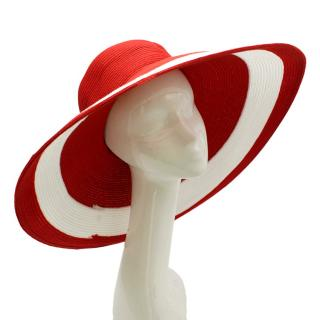 Del Mare Red and White Floppy Beach Hat