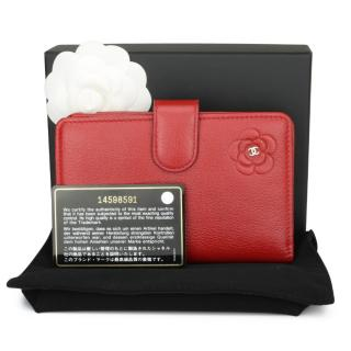 Chanel Red Leather Zip-Around Flap Wallet