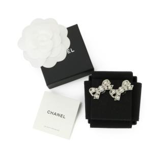 Chanel Crystal Embellished Bow Stud Earrings