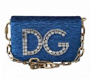 Dolce & Gabbana DG Girls Crystal Embellished Blue Shoulder Bag