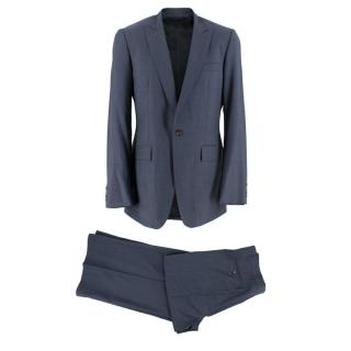 Burberry Navy Striped Two-Piece Wool Single Breasted Suit