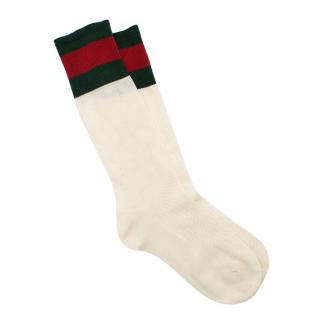 Gucci Suzanne White Web Stripe Socks