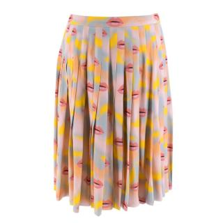 Prada Pastel Lip Print Pleated Skirt